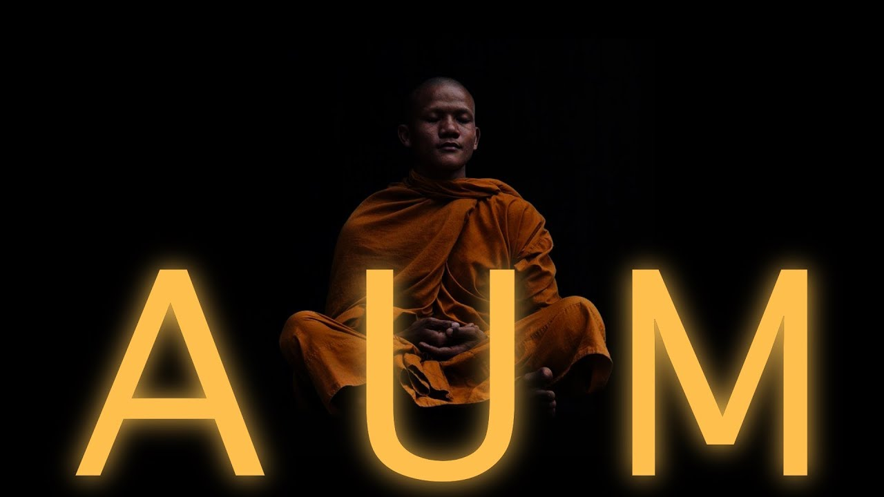 Illustration of budhist monk in orange clothing, chanting the mantra aum