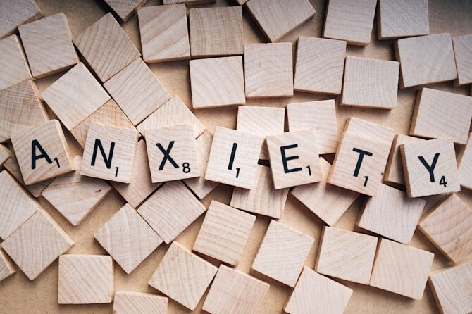 PUZZLE with letters saying anxiety